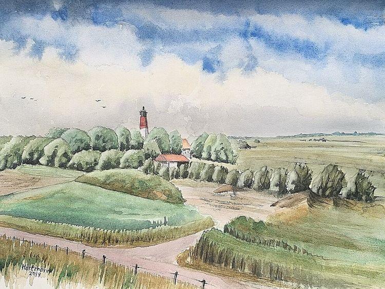 Leuchtturm, Pleinair, Pellworm, Aquarell