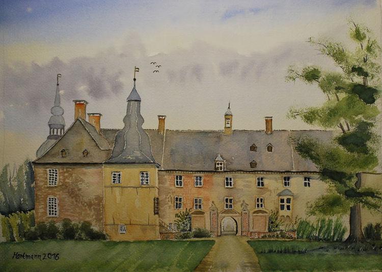 Schloss, Lembeck, Aquarell