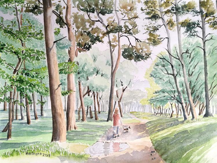 Aquarellmalerei, Pfütze, Landschaft, Wald, Baum, Aquarell