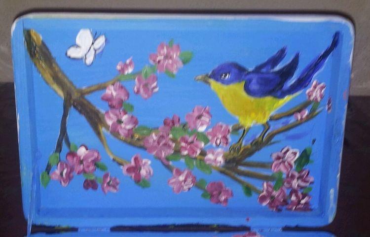Vogel, Frühling, Blüte, Malerei