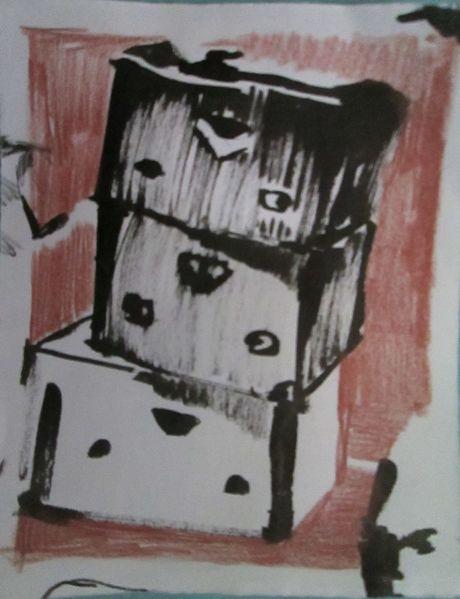 Karton, Tusche, Skizze, Zeichnungen