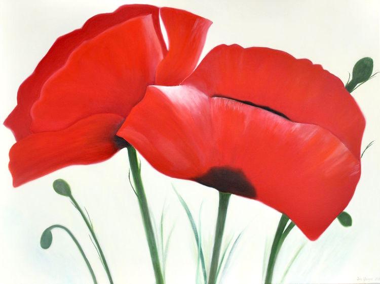 Mohnblumen, Rot, Ölmalerei, Malerei