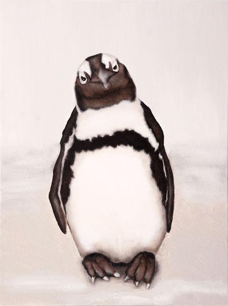 Pinguin, Schwarz weiß, Naturalistisch, Malerei