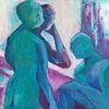 Türkis, Viola, Figur, Malerei