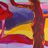 Landschaft, Rot, Blau, Lebhaft