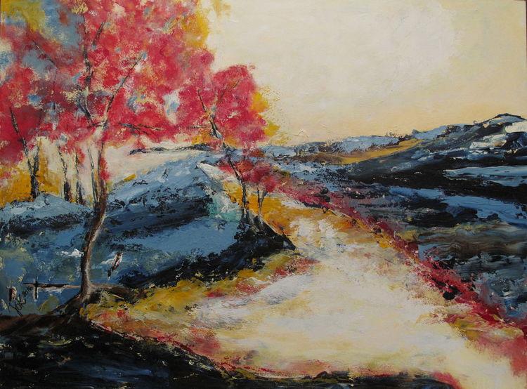 Landschaft, Acrylmalerei, Baum, Rot, Malerei,