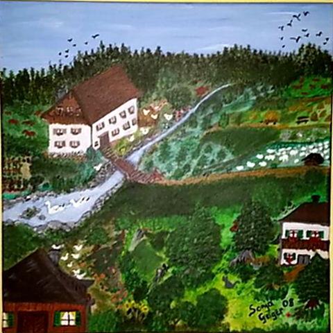 Natur, Malerei, Landschaft, Acrylmalerei, Grün, Idylle