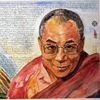 Lama, Portrait, Dalai, Aquarellmalerei