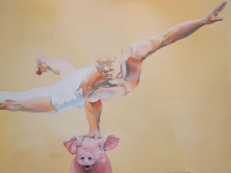 Surreal, Mann, Ölmalerei, Großformat, Malerei, Schwerelos