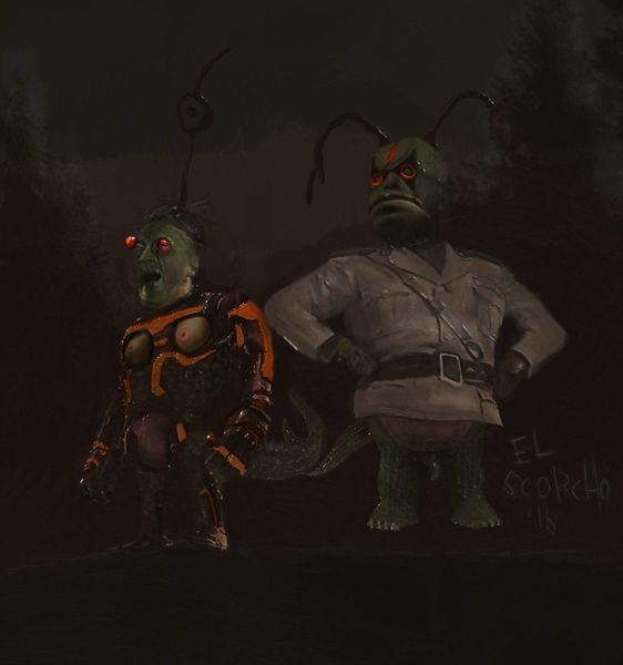 Apokalypse, Eidechse, Alien, Figural, Besoffen, Monster