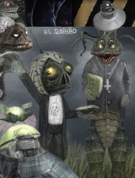 Reptiloide, Space ship, Missionar, Ufo, Mischtechnik