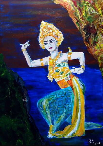 Acrylmalerei, Balinesische tänzerin, Pouring, Blau, Malerei
