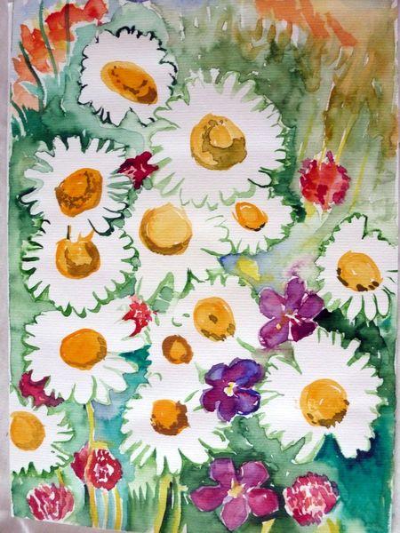 Wiesenklee, Natur, Blumen, Gänseblümchen, Aquarell