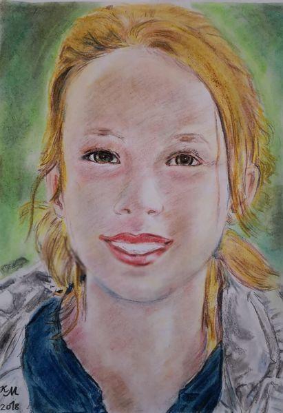 Lächeln, Pastellmalerei, Kind, Zeichnungen, Jasmin