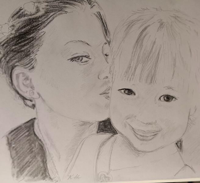 Mutter, Küsschen, Kleines mädchen, Zeichnungen
