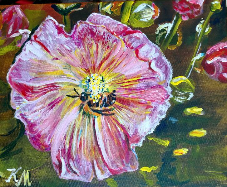 Biene, Rosa, Malven, Malerei