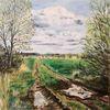 Feldweg, Nach dem regen, Pfütze, Malerei