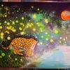 Landschaft, Jaguar, Lichtpunkte, Malerei