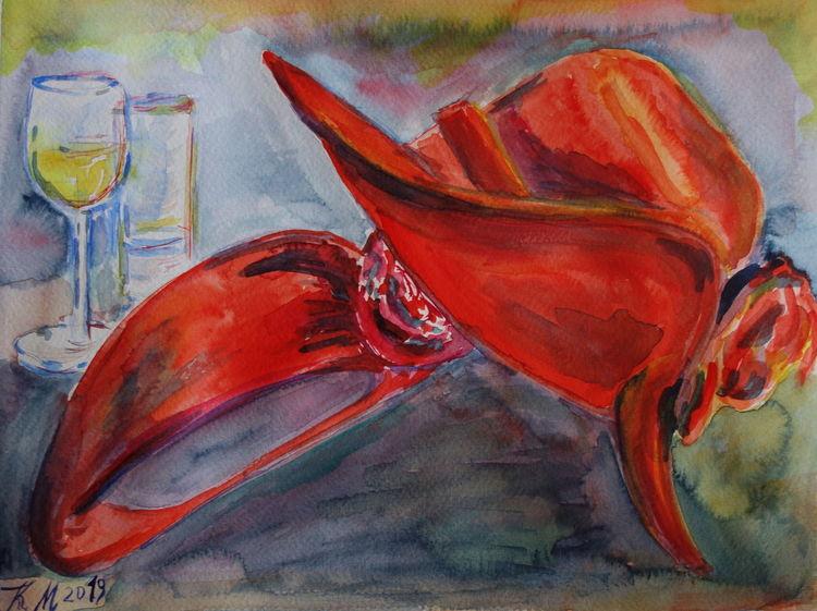 Rot, Heißer sommerabend, Hut, Aquarell