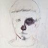 Gesicht, Spachtel, Ölmalerei, Mixed media