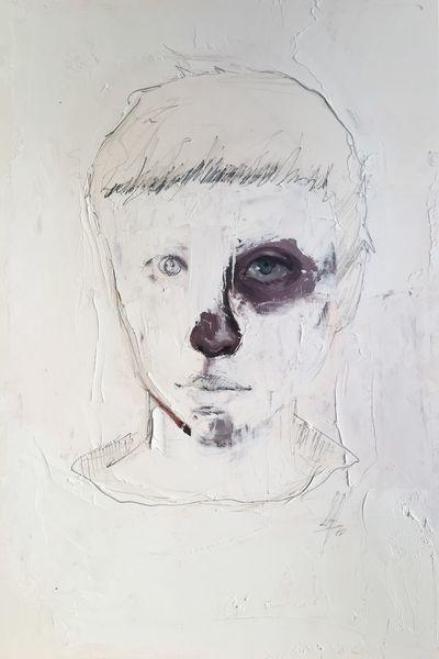 Gesicht, Spachtel, Ölmalerei, Mixed media, Weiß, Zeichnung