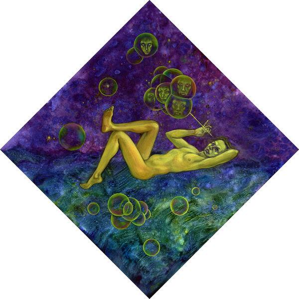 Surreal, Blau, Mystik, Figural, Lilla, Malerei