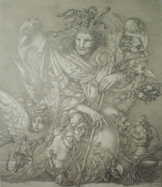 Reiter, Engel, Symbol, Dämon, Zeichnung, Flügel