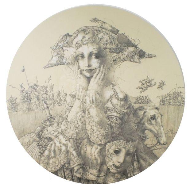 Clownen, Frauenbildnis, Maske, Barock, Zeichnungen