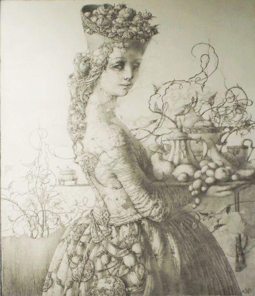 Venedig, Frauengestalt, Bleistiftzeichnung, Zeichnung, Fantasie, Italien