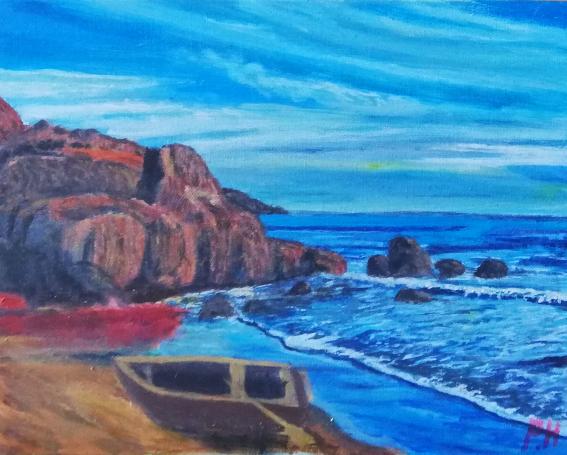 Fluss, Wasser, Himmel, Malerei, Bucht