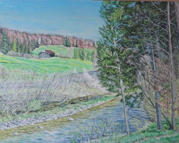 Haus, Wasser, Baum, Malerei