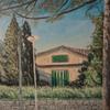 Landschaft, Baum, Haus, Malerei
