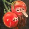 Tomate, Zähne, Finger, Malerei