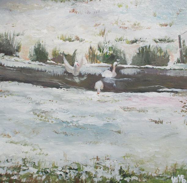 Ems, Winter, Gänse, Malerei
