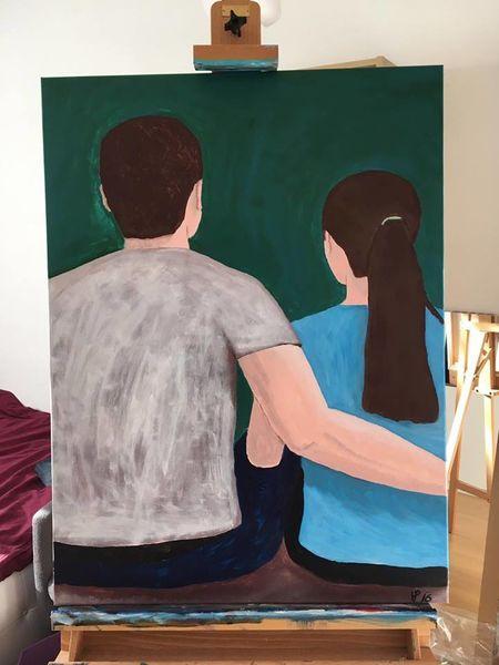 Expressionismus, Malerei, Mann, Acrylmalerei, Frau, Paar