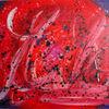 Blau, Abstrakt, Malerei, Rot schwarz
