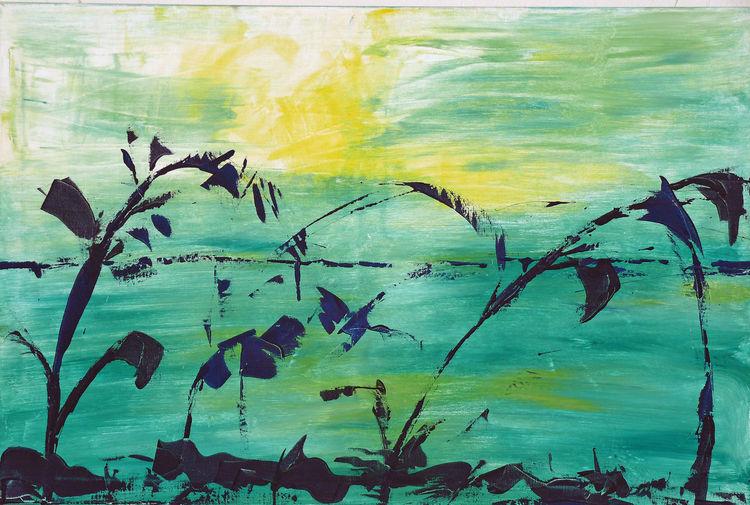 Acrylmalerei, Wasser, Grün, Landschaft, Malerei, Ruhe