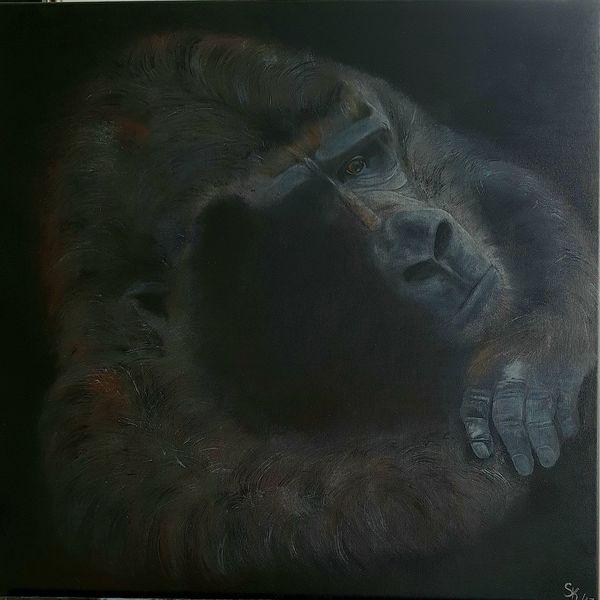 Schwarz, Natur, Silberrücken, Affe, Gorilla, Malerei