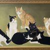 Gruppe, Katze, Malerei, Tiere
