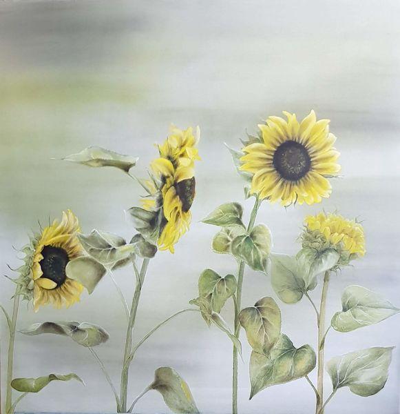 Natur, Sonnenblumen, Pflanzen, Blumen, Gelb, Malerei