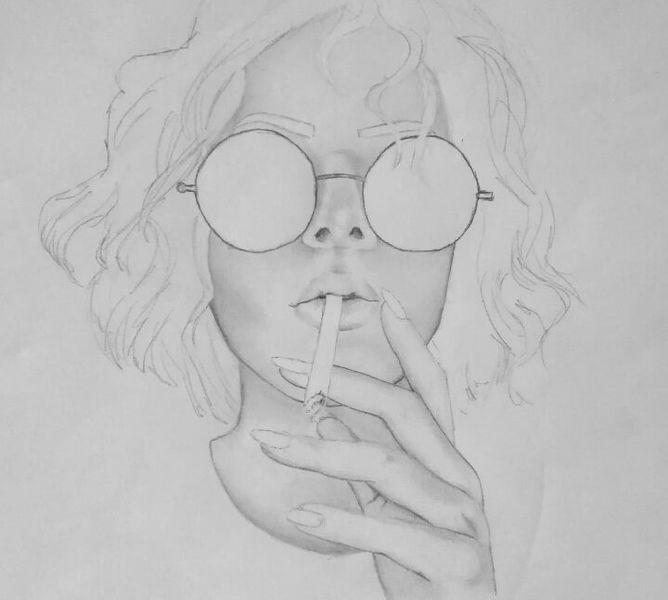 Mischtechnik, Haare, Frau, Brille, Lippen, Zeichnung