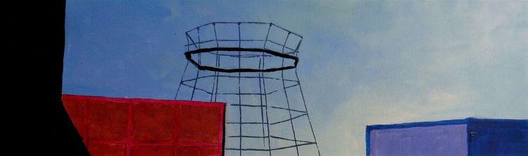 Gebäude, Rot schwarz, Gerüst, Blau, Malerei