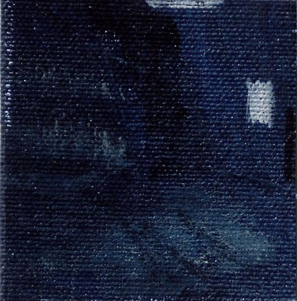 Straße, Haus, Blau, Nacht, Malerei