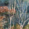 Fluss, Schiff, Baum, Malerei