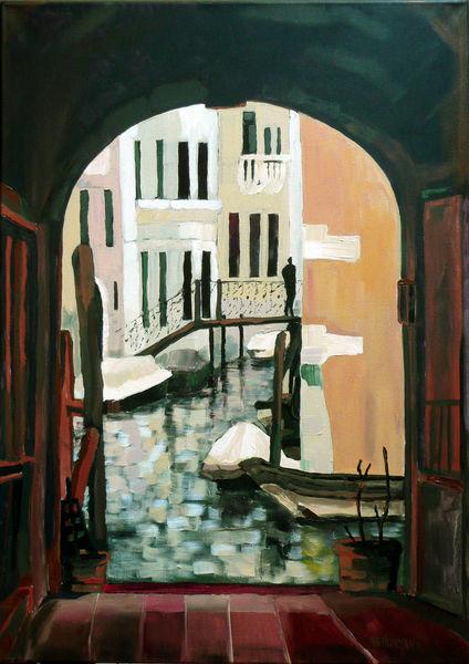 Tor, Häuser, Fluss, Kanal, Braun, Venedig