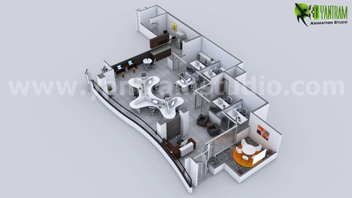 Moderna oficina de planificaci n 3d plan de rendimiento for Planos de oficinas pequenas modernas
