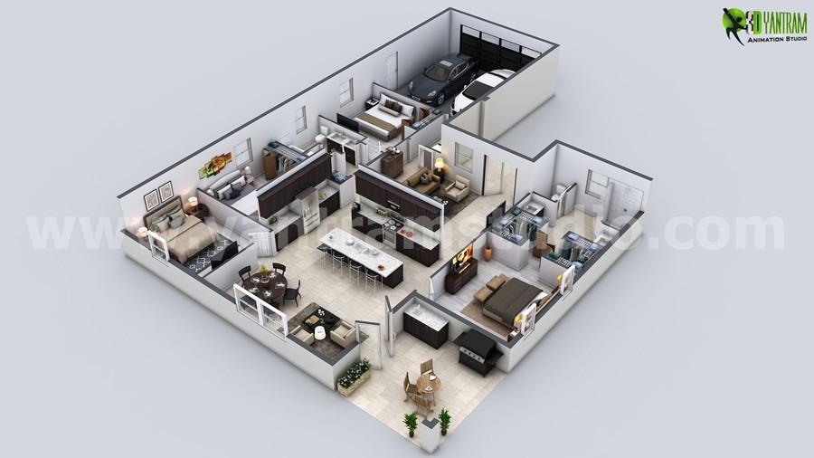 Haus Atelier Schnittplan Schopfer Architektur Visualisierung