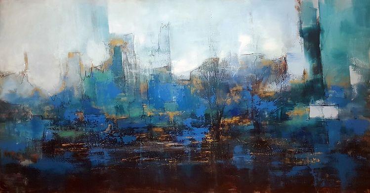 Acrylmalerei, Blau, Abstrakte malerei, Moderne malerei, Moderne kunst, Zeitgenössische malerei