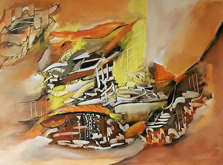 Gemälde, Braun, Abstrakte kunst, Modern, Abstrakte malerei, Gelb