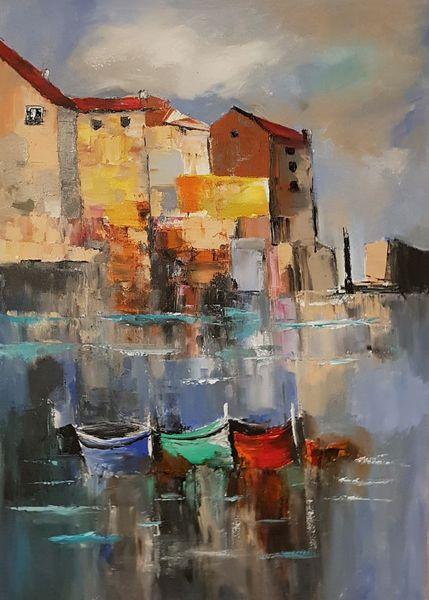 Abstrakte malerei, Moderne malerei, Gemälde, Boot, Spachteltechnik, Hafen